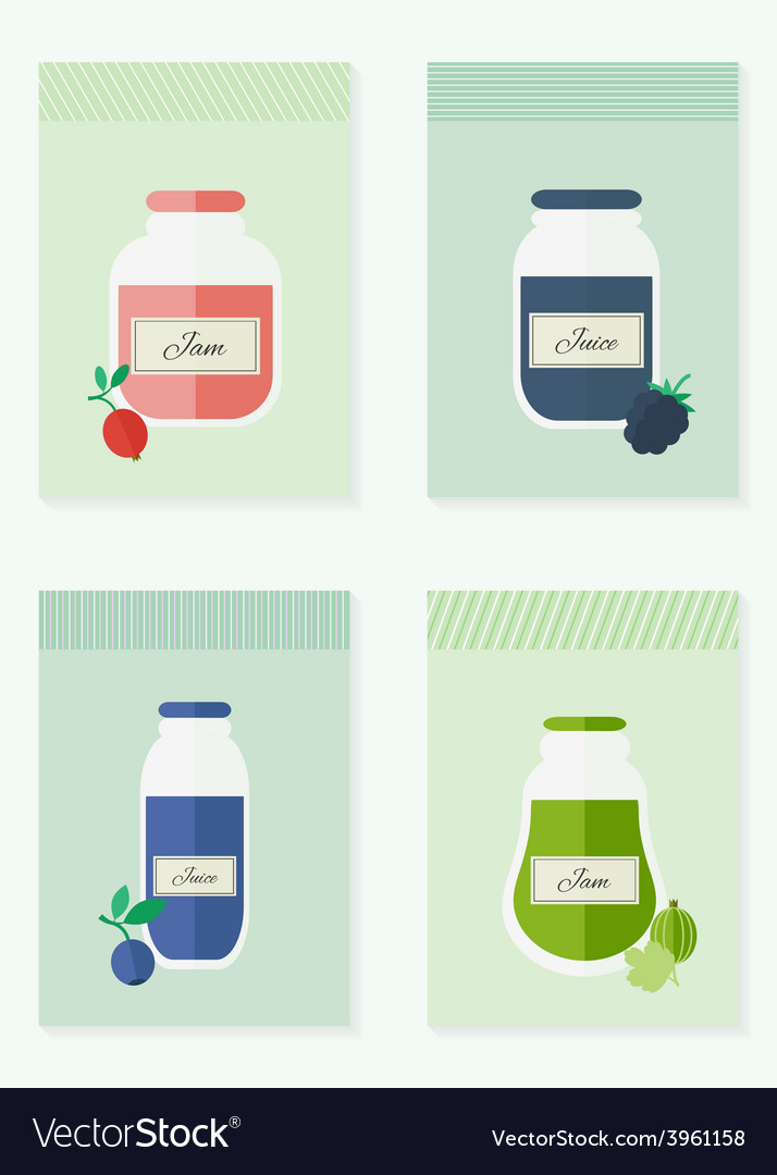 Jam and juice isolated cards in flat style vector | Price: 1 Credit (USD $1)