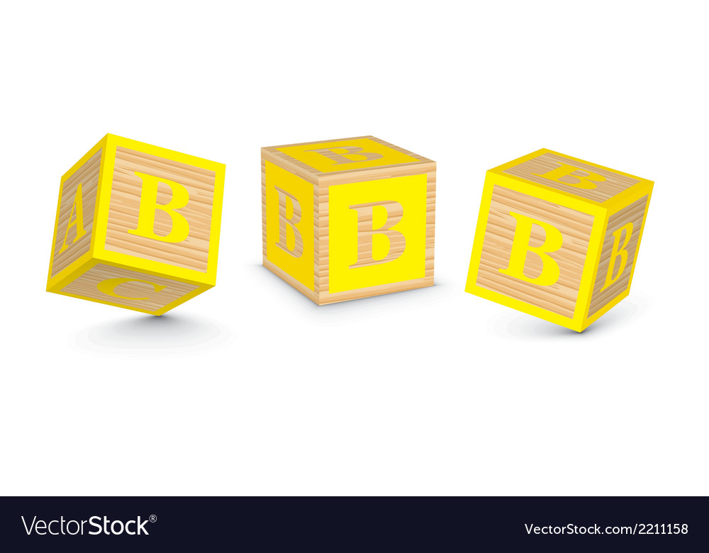 Letter b wooden alphabet blocks vector | Price: 1 Credit (USD $1)