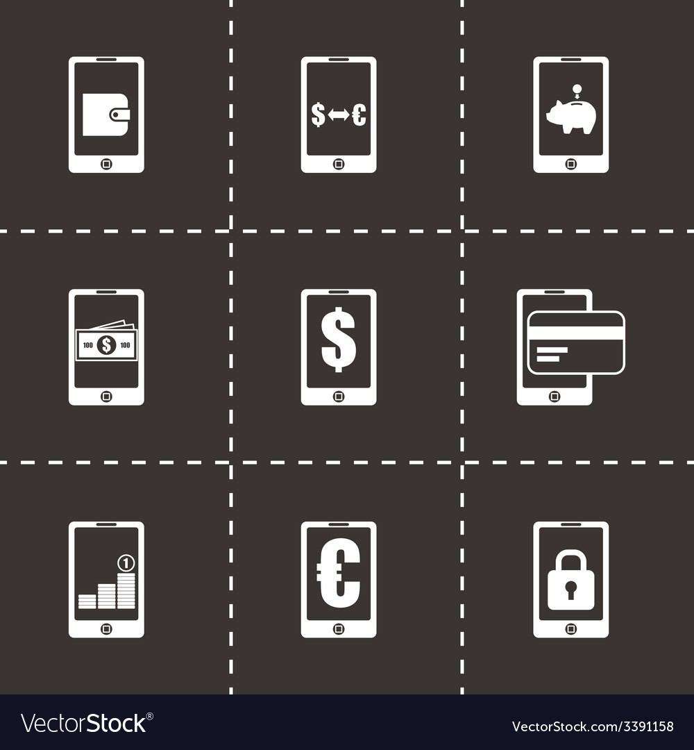 Mobile banking icon set vector | Price: 1 Credit (USD $1)