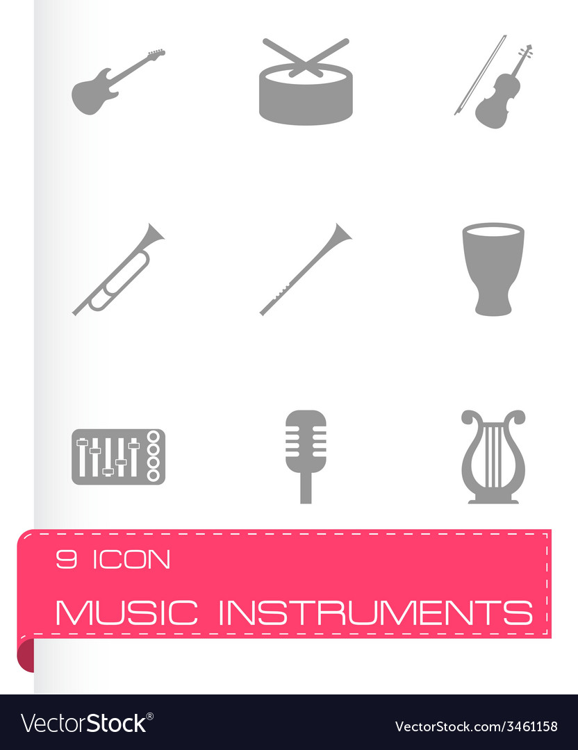 Music instruments icon set vector | Price: 1 Credit (USD $1)