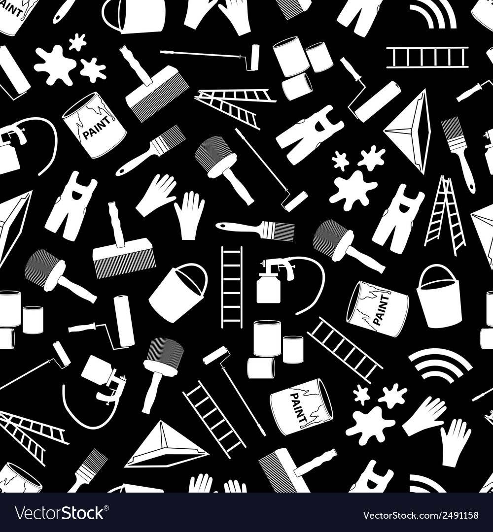 Paint icons black and white seamless pattern eps10 vector | Price: 1 Credit (USD $1)