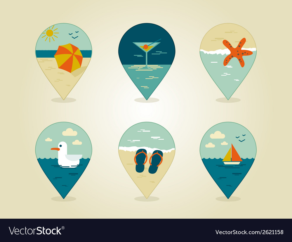 Pin map icons summer vector | Price: 1 Credit (USD $1)