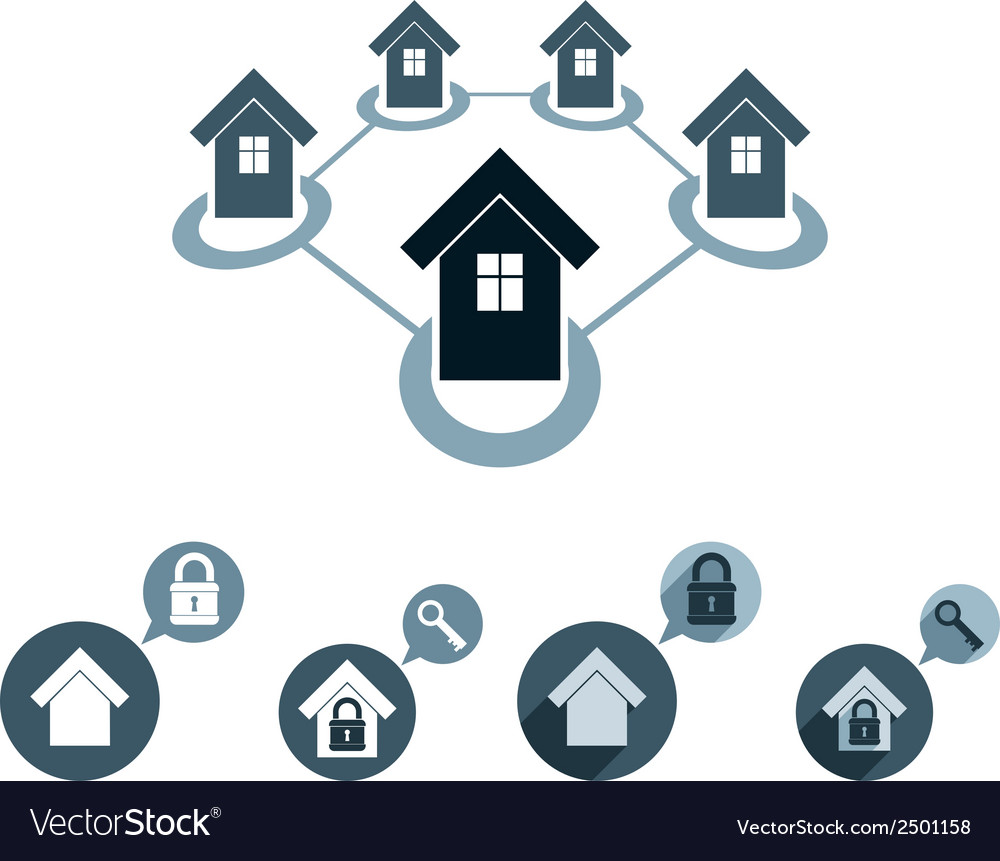 Real estate icons set realty theme symbols collec vector | Price: 1 Credit (USD $1)