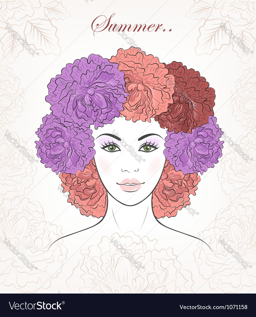Romantic girl with peonies hair vector | Price:  Credit (USD $)