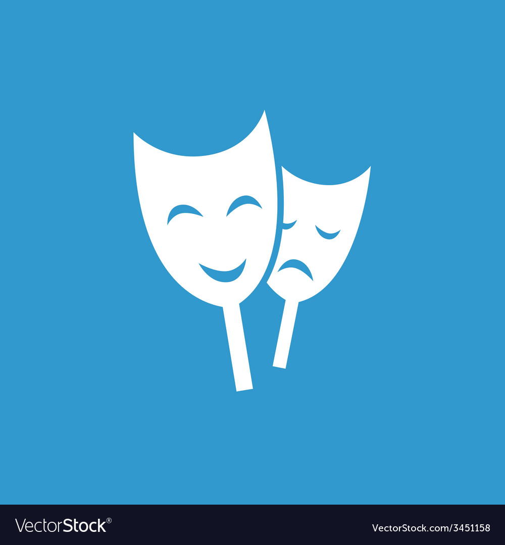 Theater icon white on the blue background vector | Price: 1 Credit (USD $1)