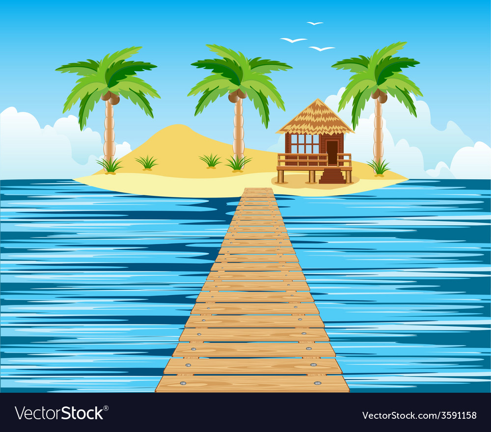 Wooden bridge to tropical island vector | Price: 1 Credit (USD $1)