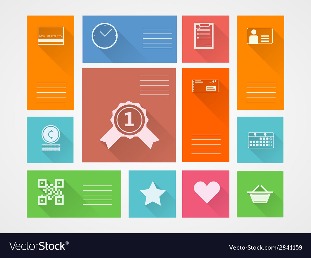 Flat square icons for internet purchase vector | Price: 1 Credit (USD $1)