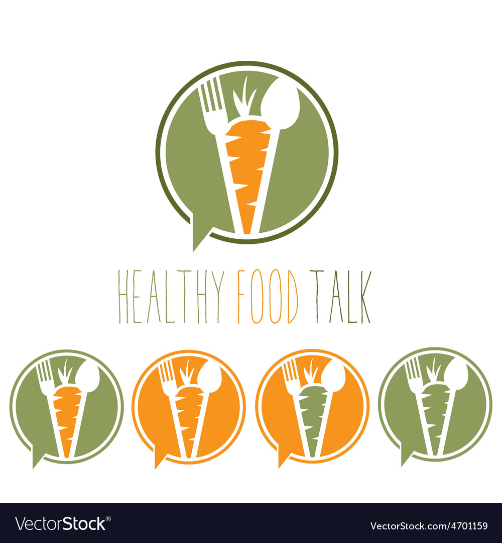 Healthy food talk concept with carrotspoon and vector | Price: 1 Credit (USD $1)