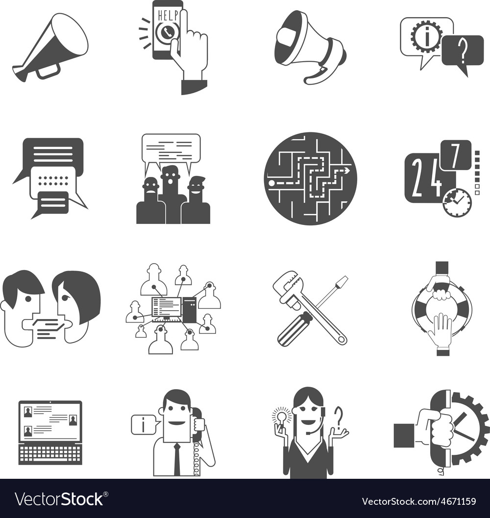Internet forums concept icons set black vector | Price: 1 Credit (USD $1)