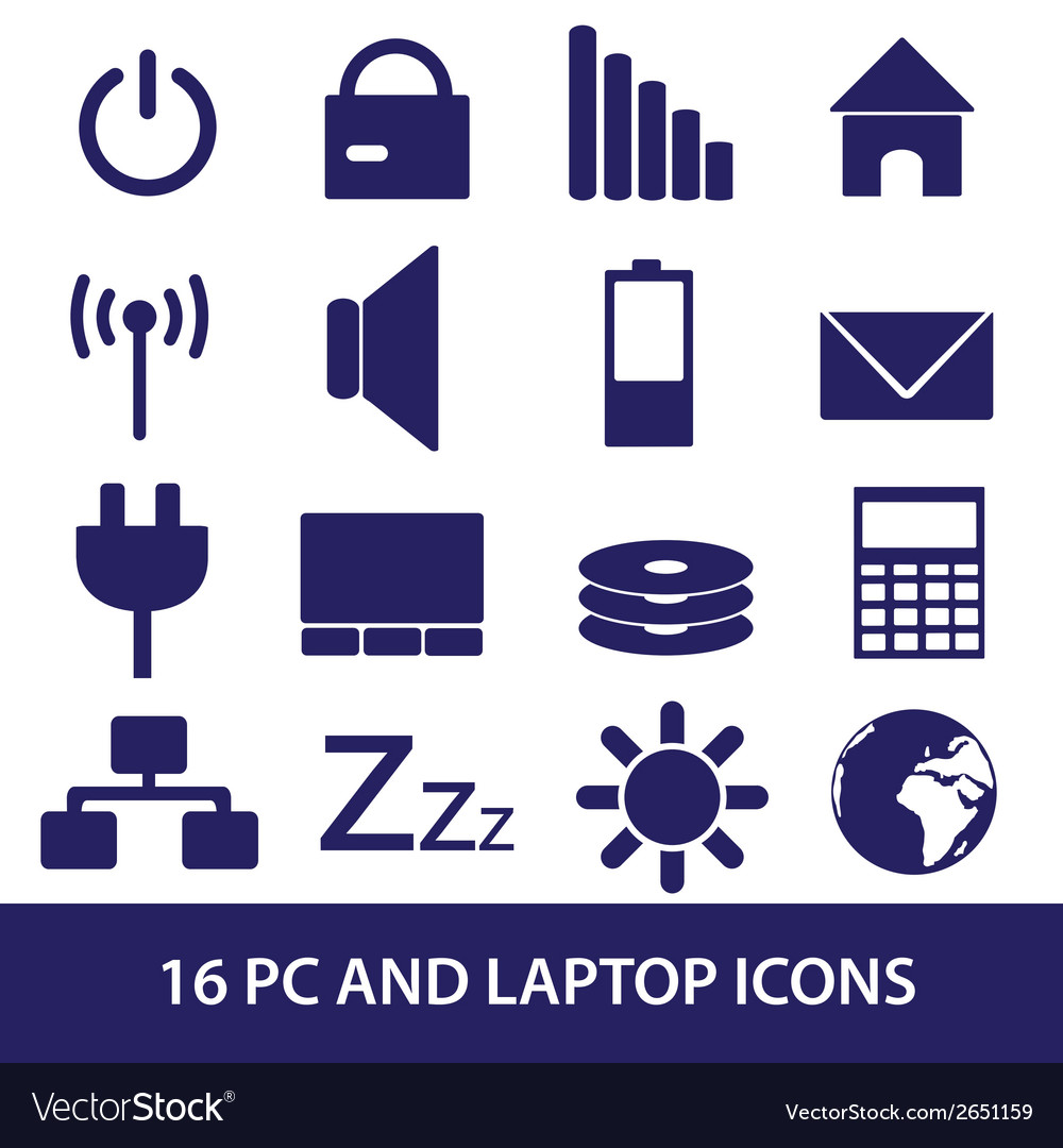 Laptop and pc indication icons eps10 vector | Price: 1 Credit (USD $1)