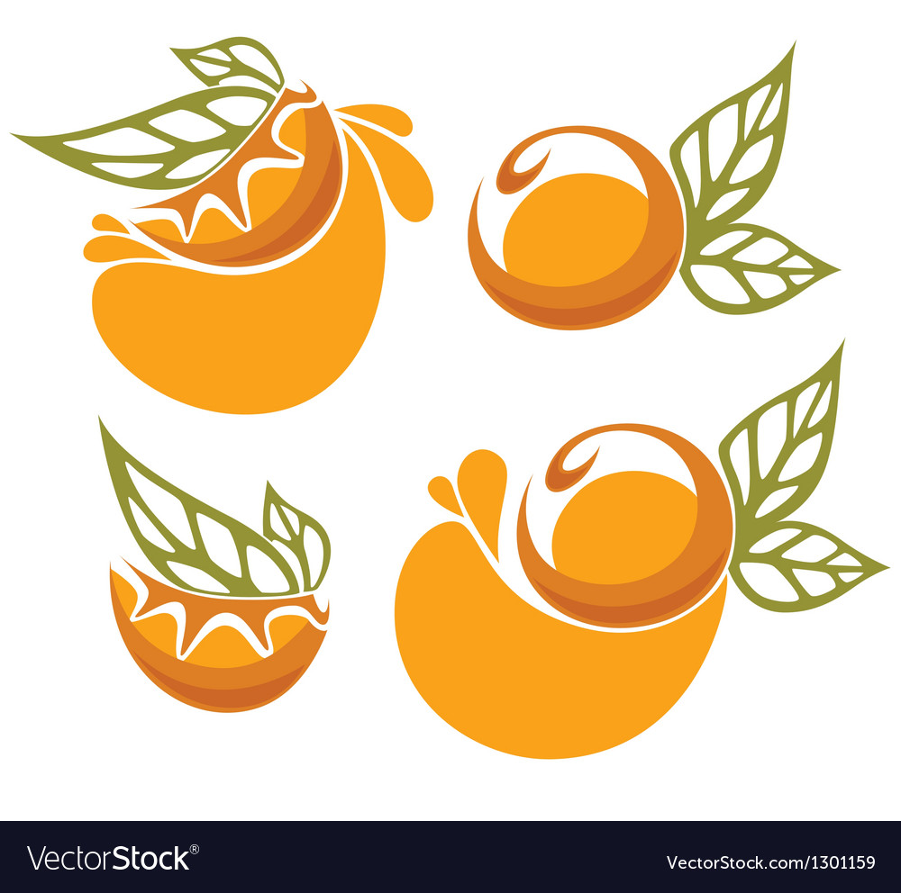 Orange juice and fruit sticker vector | Price: 1 Credit (USD $1)