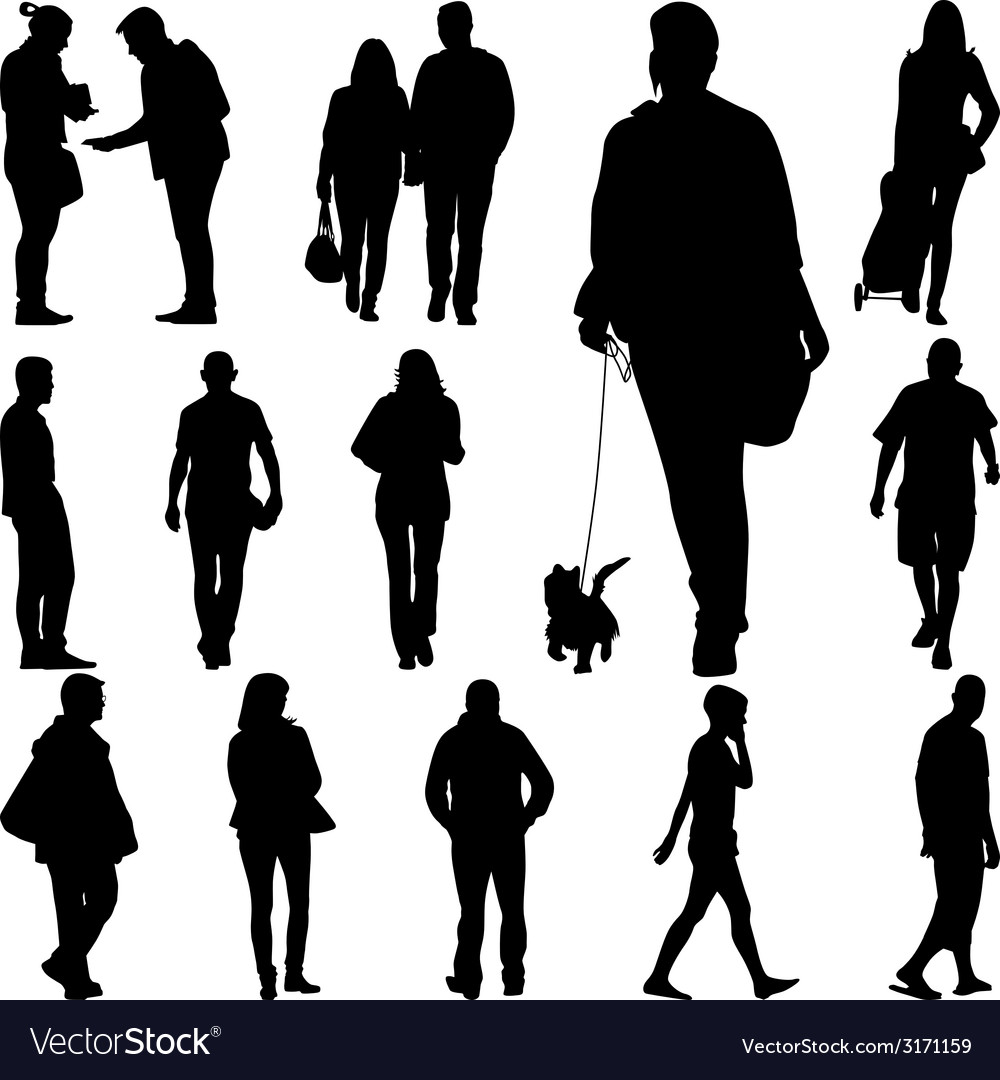 People walk vector | Price: 1 Credit (USD $1)