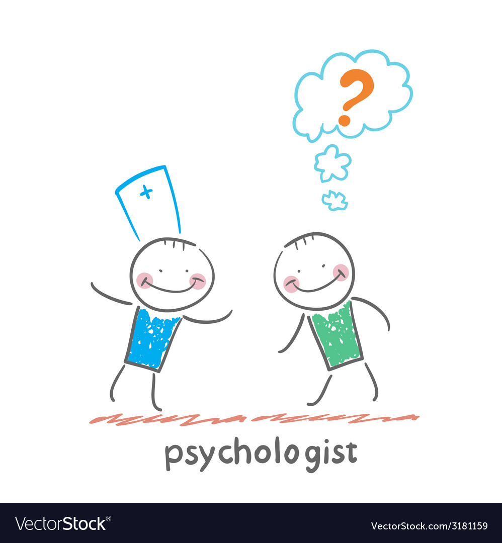 Psychologist talking to a patient who thinks of a vector | Price: 1 Credit (USD $1)