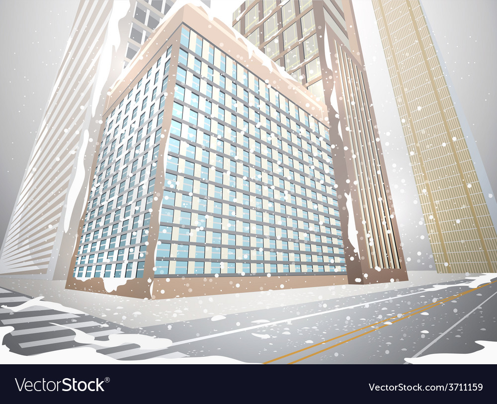Residential building in winter vector | Price: 1 Credit (USD $1)