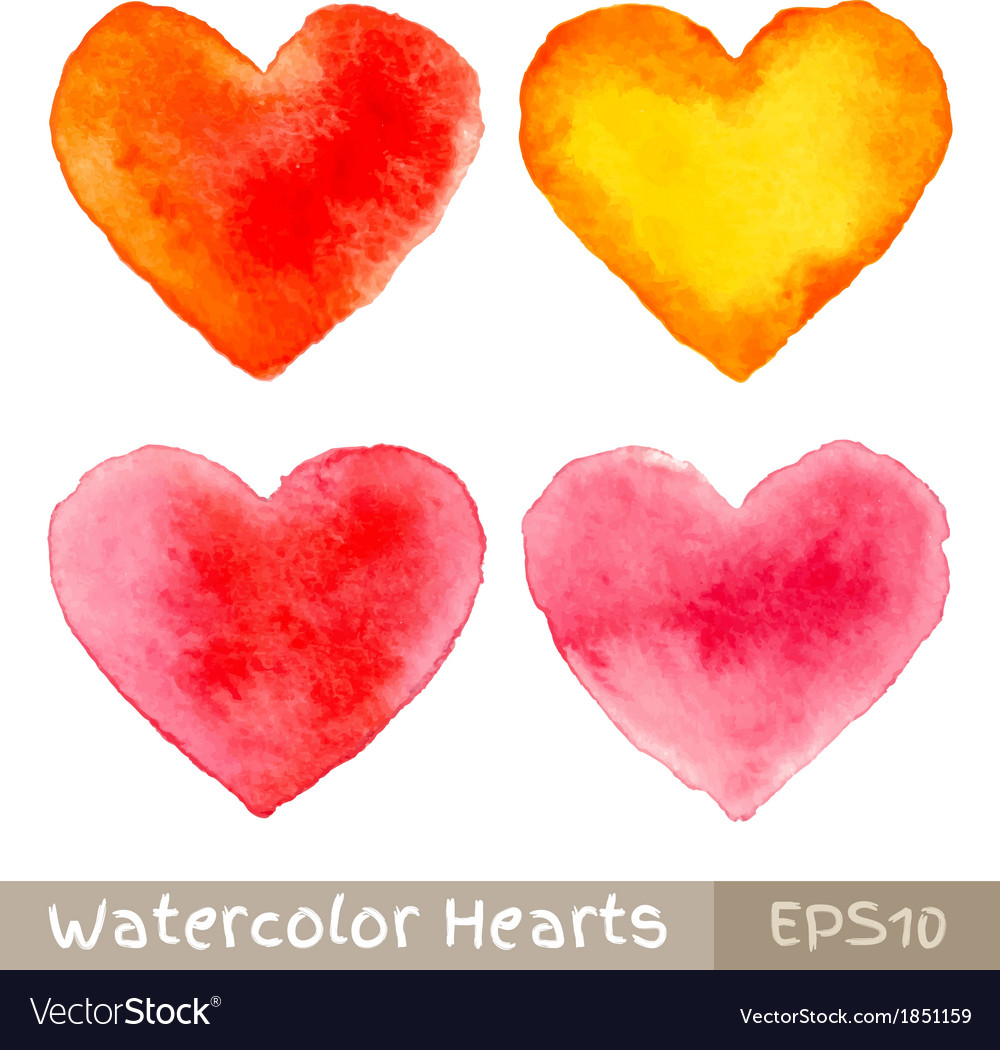 Set of colorful watercolor hearts vector | Price: 1 Credit (USD $1)