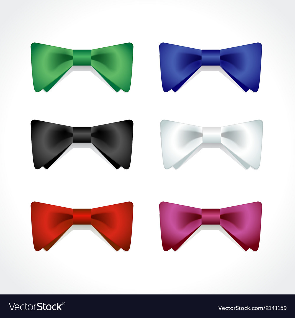 Set of multi-colored bow ties vector | Price: 1 Credit (USD $1)