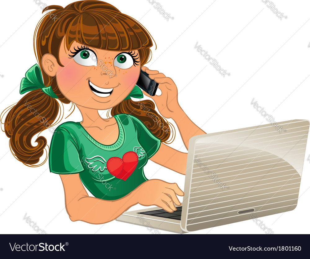 Brown-haired girl with phone and red laptop vector | Price: 3 Credit (USD $3)