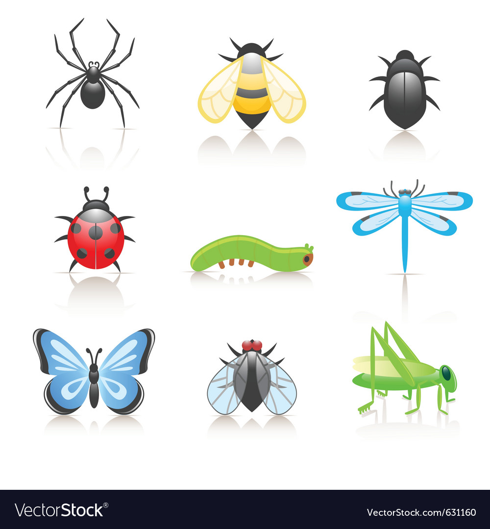 Cartoon insect icon set vector | Price: 1 Credit (USD $1)