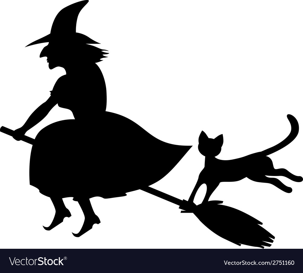 Cat a witch vector | Price: 1 Credit (USD $1)