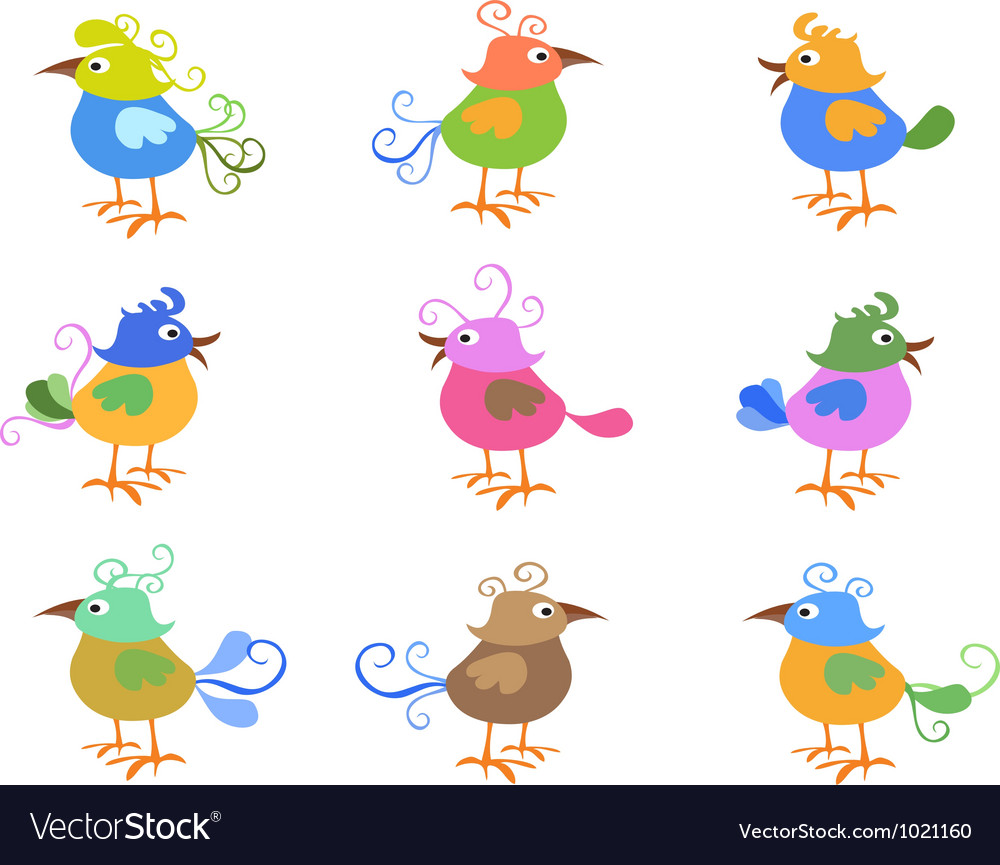 Colorful cartoon birds vector | Price: 1 Credit (USD $1)