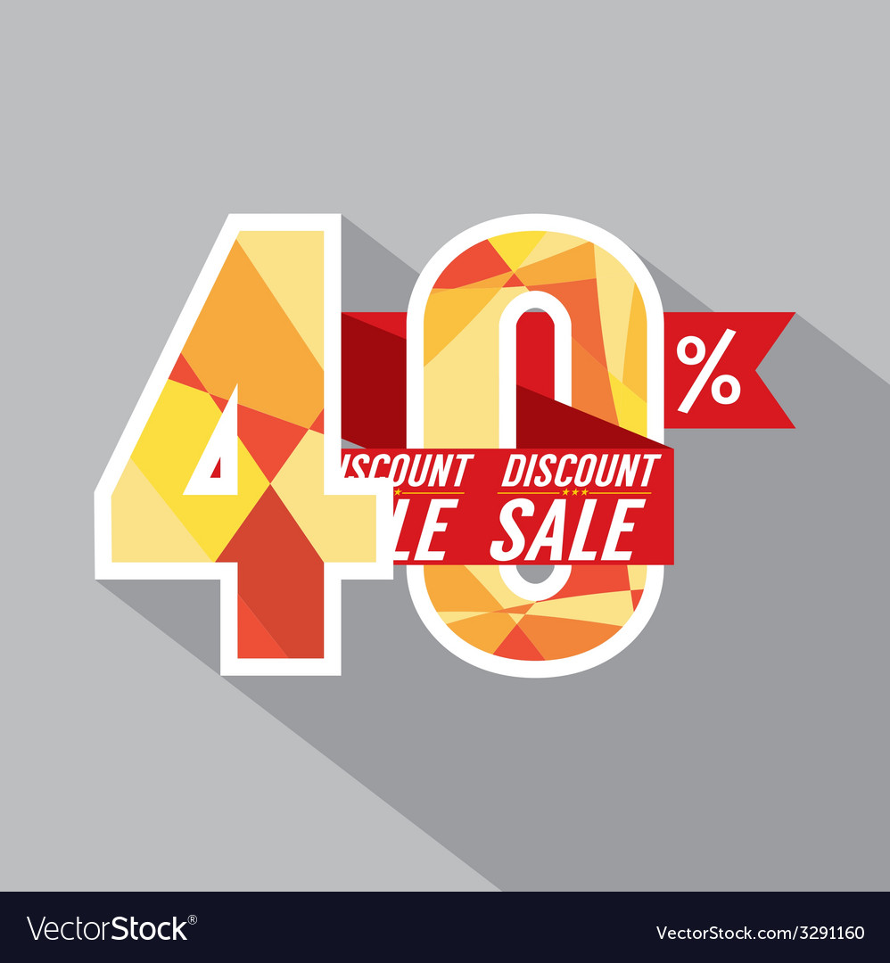 Discount 40 percent off vector | Price: 1 Credit (USD $1)