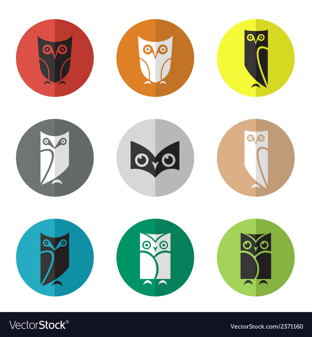 Group of owl in the circle vector | Price: 1 Credit (USD $1)