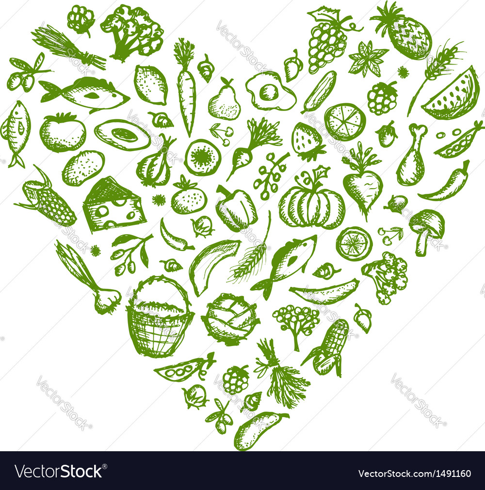 Healthy food background heart shape sketch for vector | Price: 1 Credit (USD $1)