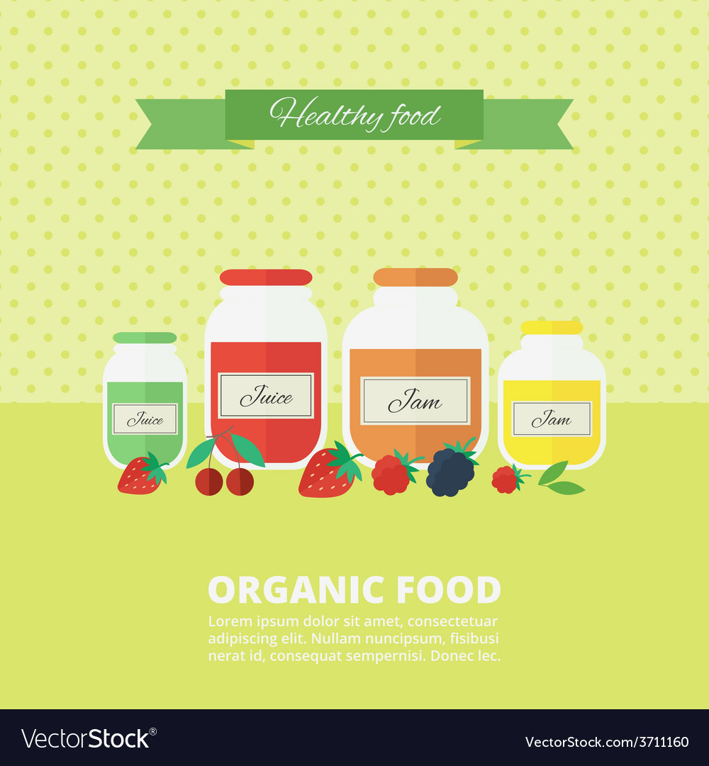 Jam and juice card in flat style vector   Price: 1 Credit (USD $1)