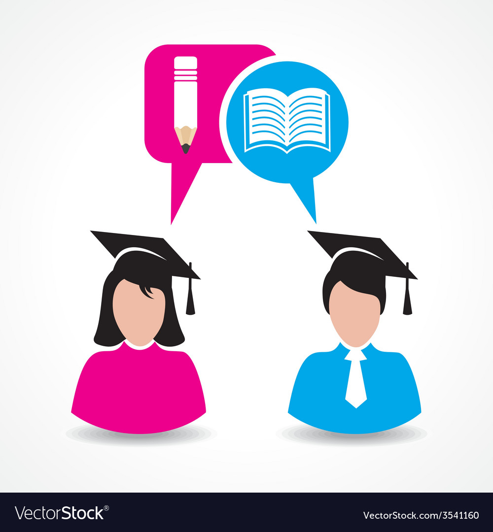 Male and female students thinking about education vector | Price: 1 Credit (USD $1)