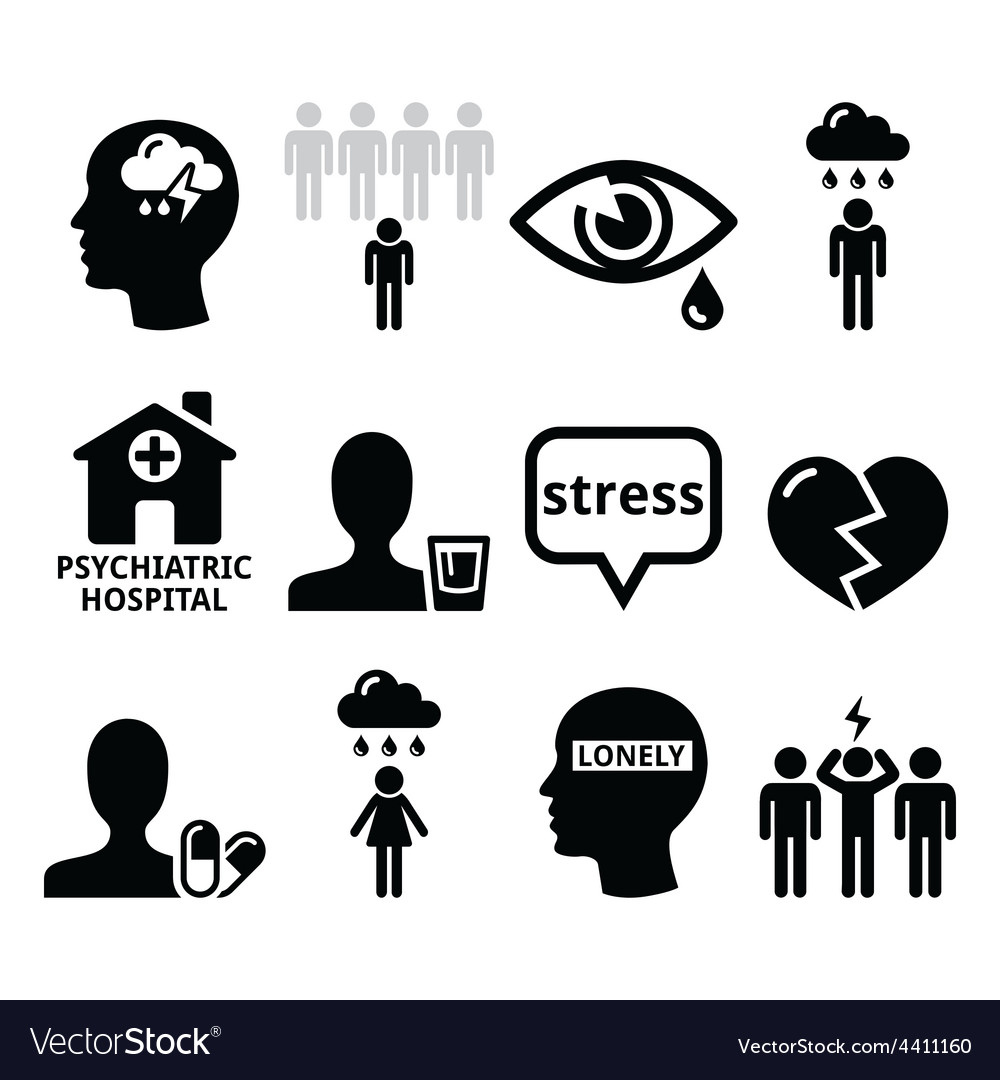 Mental health icons  depression addiction vector