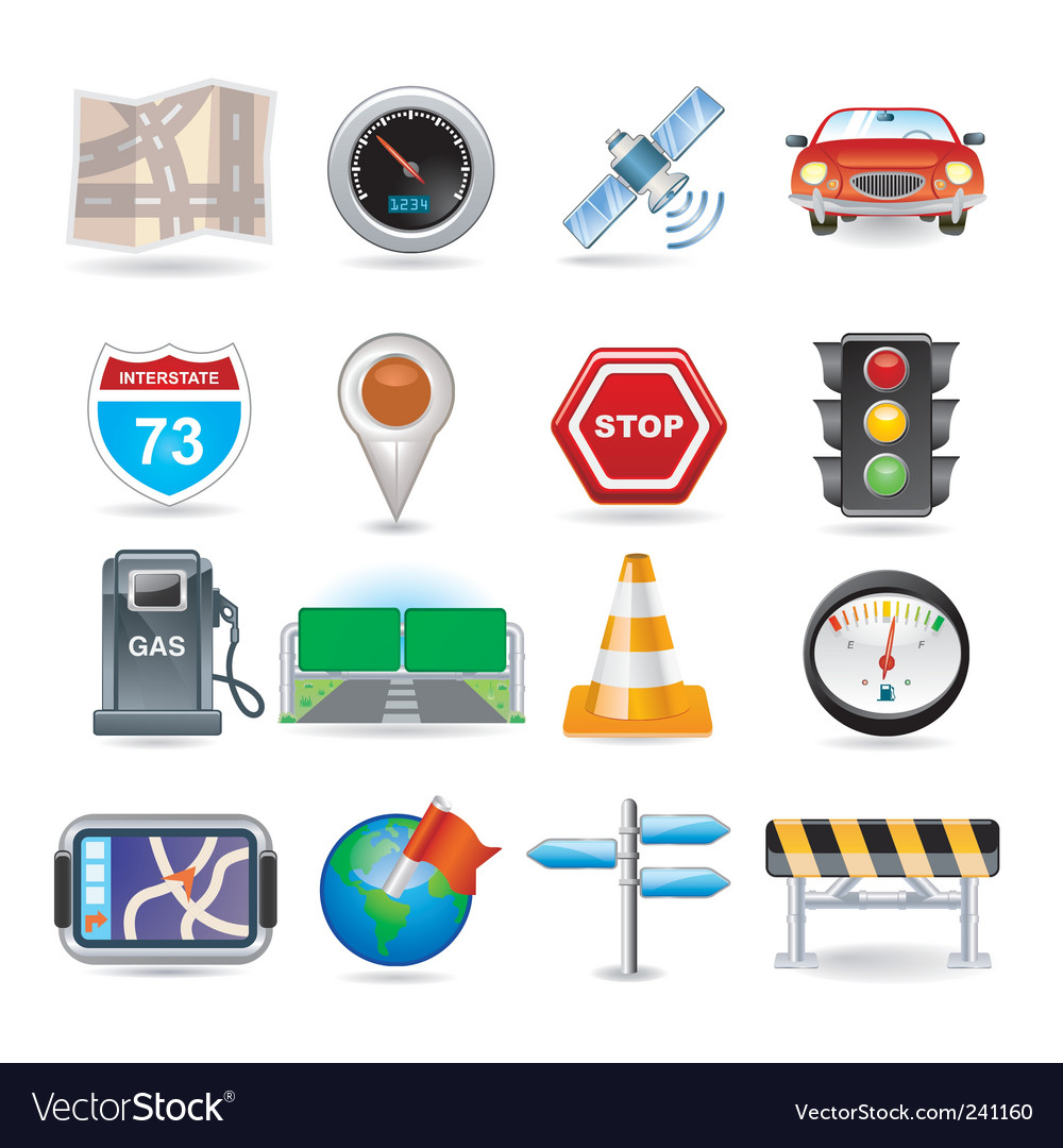 Navigation icon set vector | Price: 3 Credit (USD $3)