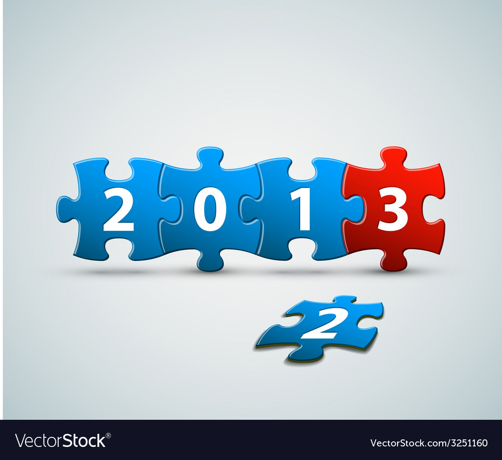 New year 2013 card made from blue and red puzzle vector   Price: 1 Credit (USD $1)