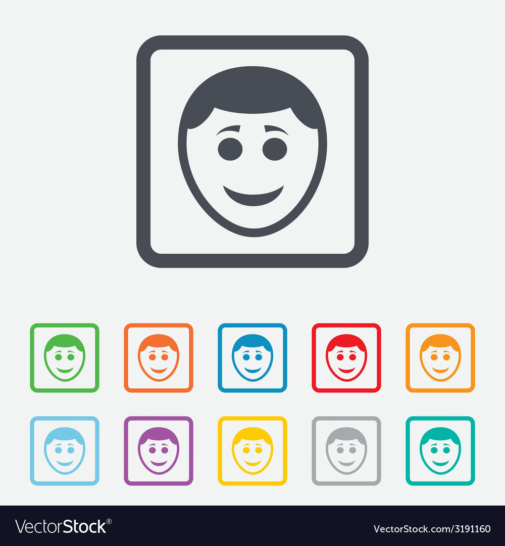 Smile face icon smiley with hairstyle symbol vector | Price: 1 Credit (USD $1)