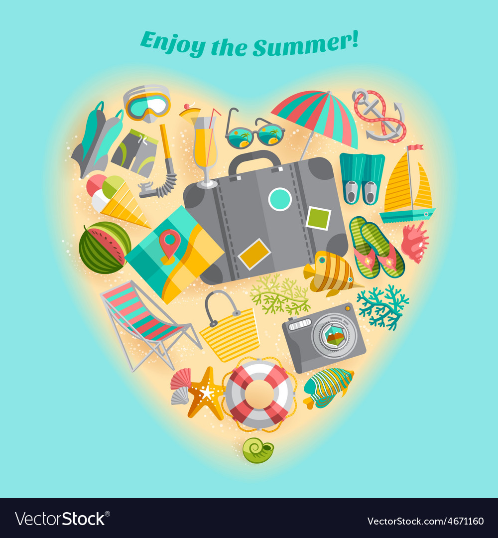 Summer vacation heart composition icon poster vector | Price: 1 Credit (USD $1)