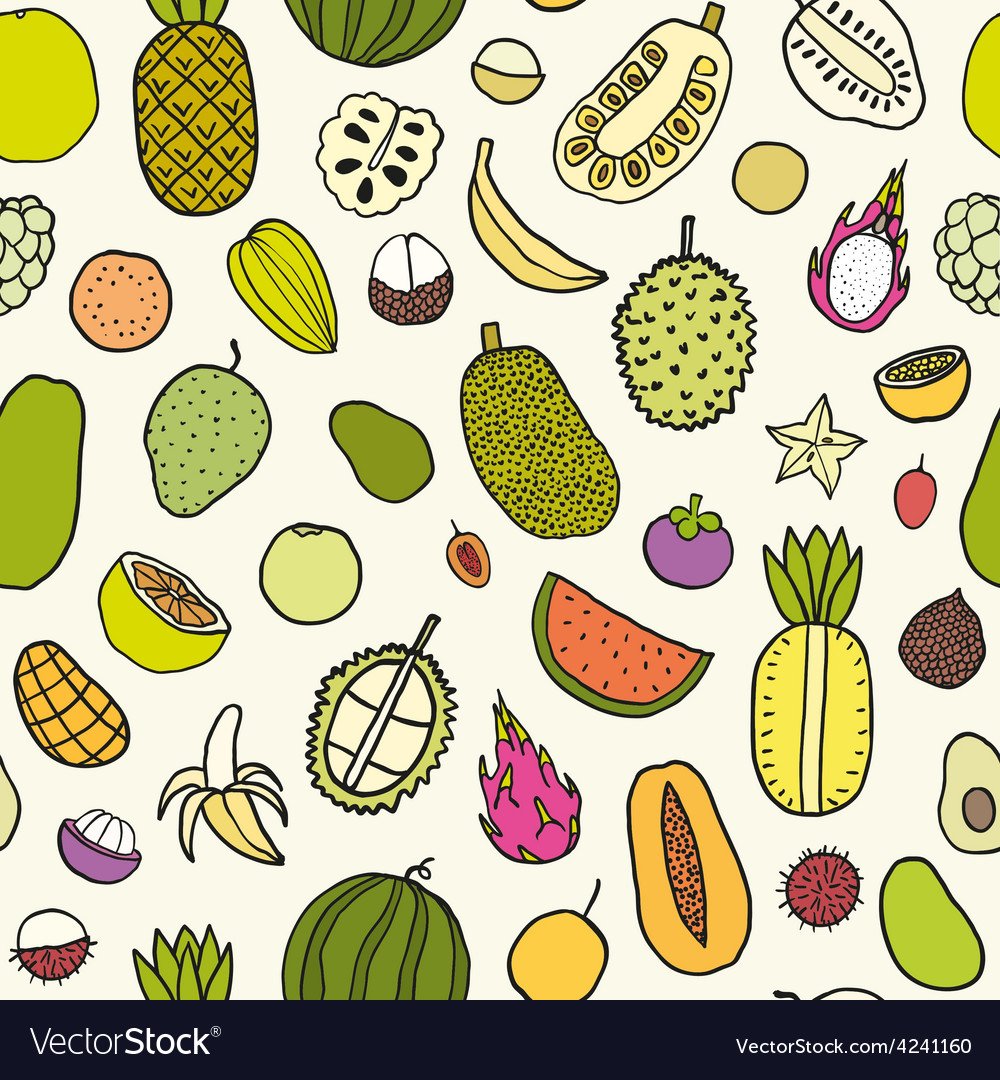 Tropical fruits seamless pattern vector | Price: 1 Credit (USD $1)