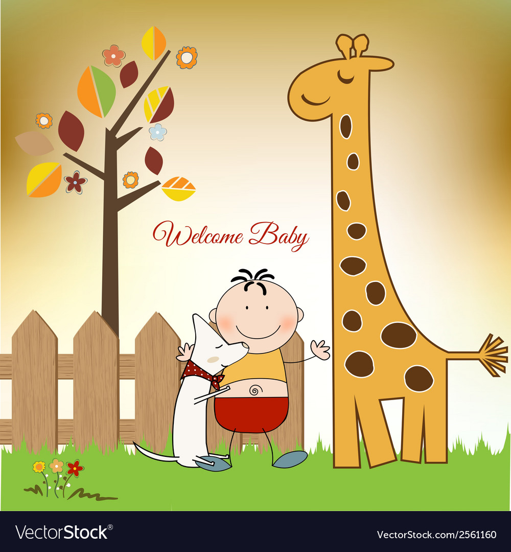 Welcome baby greeting card with giraffe vector | Price: 1 Credit (USD $1)