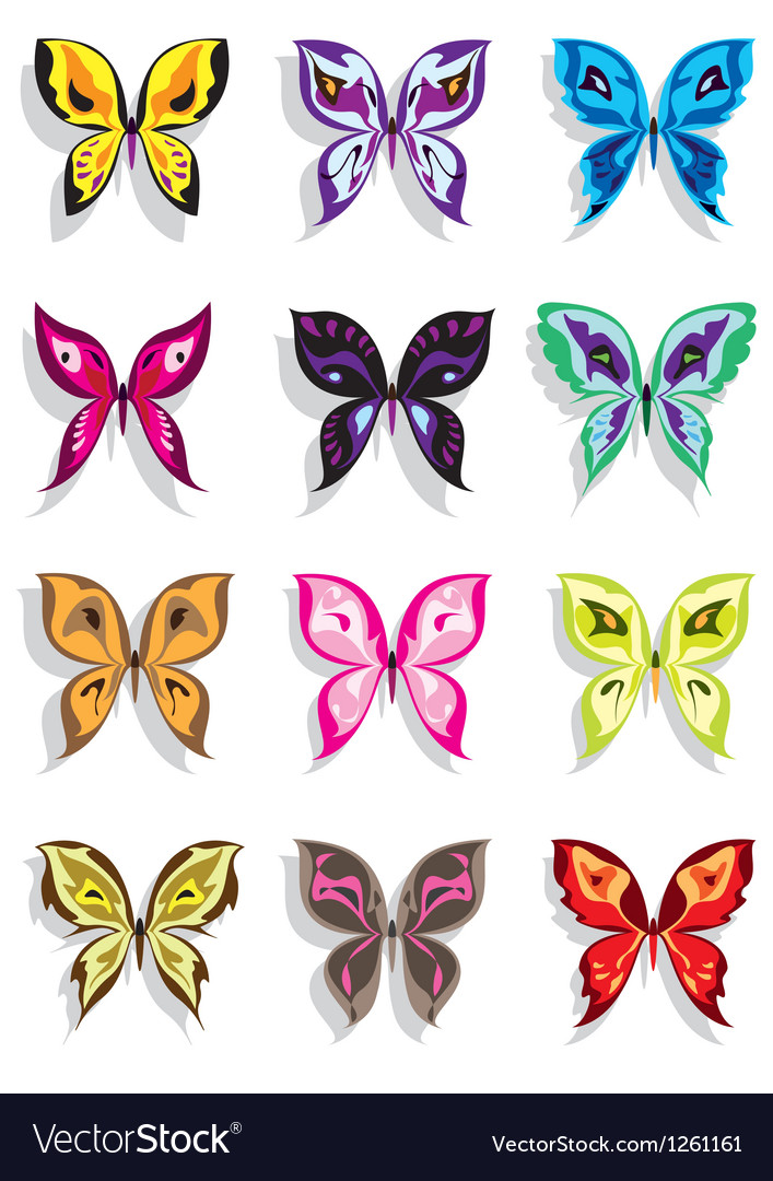 Butterfly with shadow in twelve variations vector | Price: 3 Credit (USD $3)