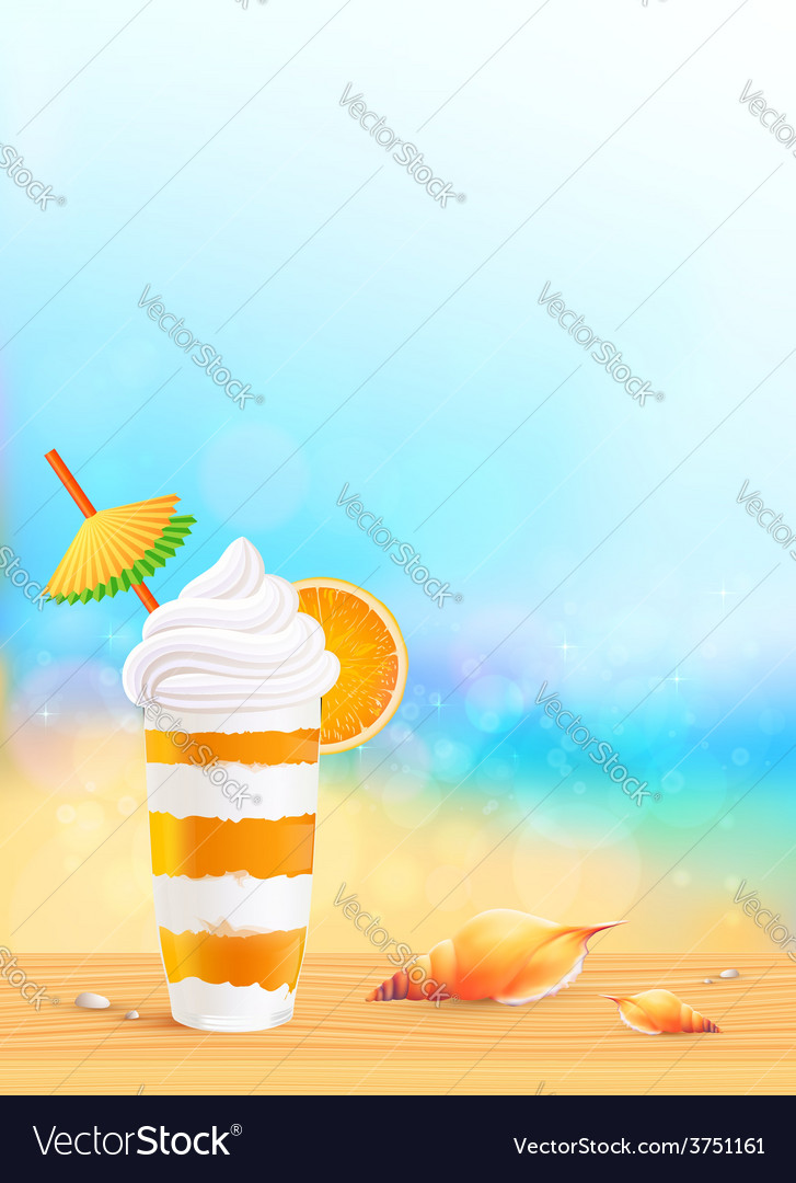 Glass of exotic orange cocktail on beach vector | Price: 3 Credit (USD $3)