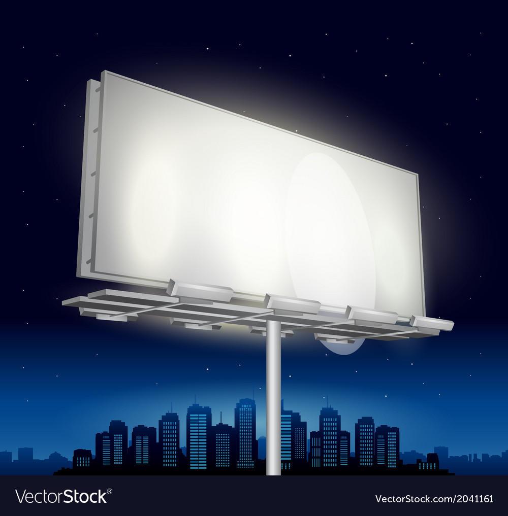 Highway ad billboard roadside at night vector | Price: 1 Credit (USD $1)