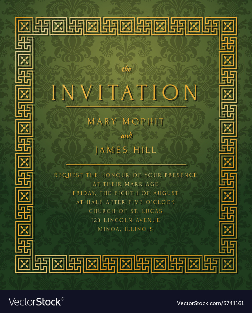 Invitation with damask pattern vector | Price: 1 Credit (USD $1)