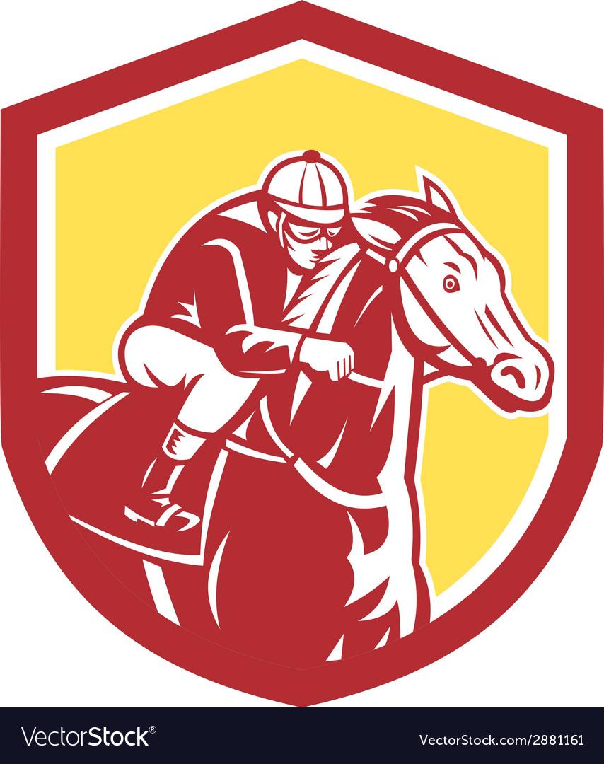 Jockey horse racing shield retro vector | Price: 1 Credit (USD $1)