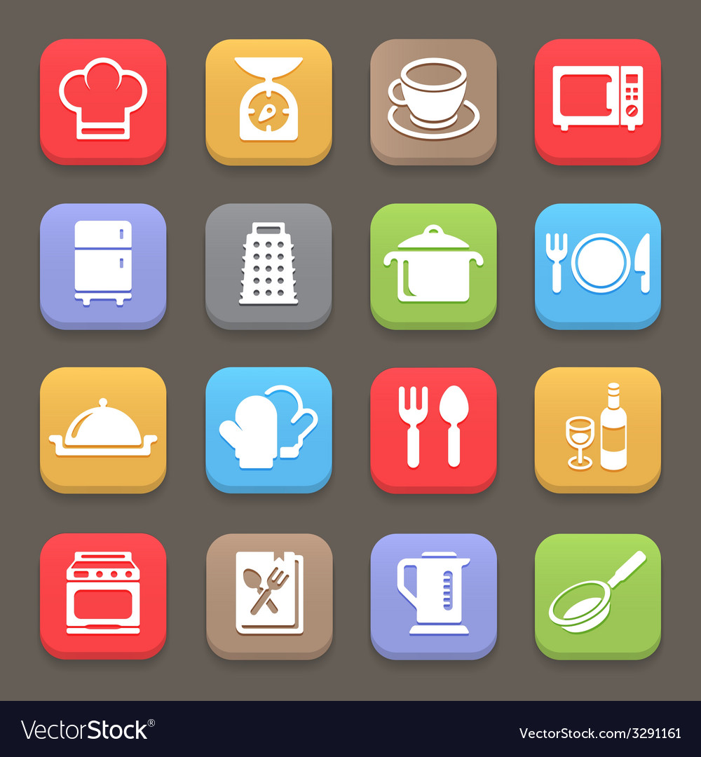 Kitchen cooking icons for web or mobile vector | Price: 1 Credit (USD $1)