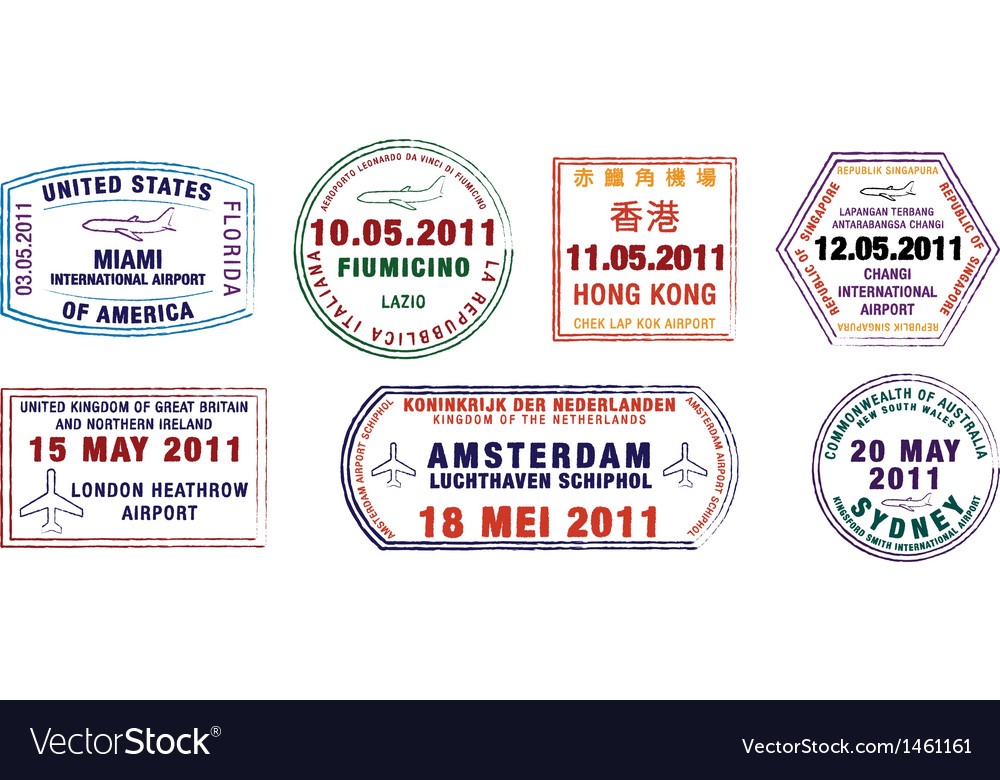 Major city passport stamps vector | Price: 1 Credit (USD $1)