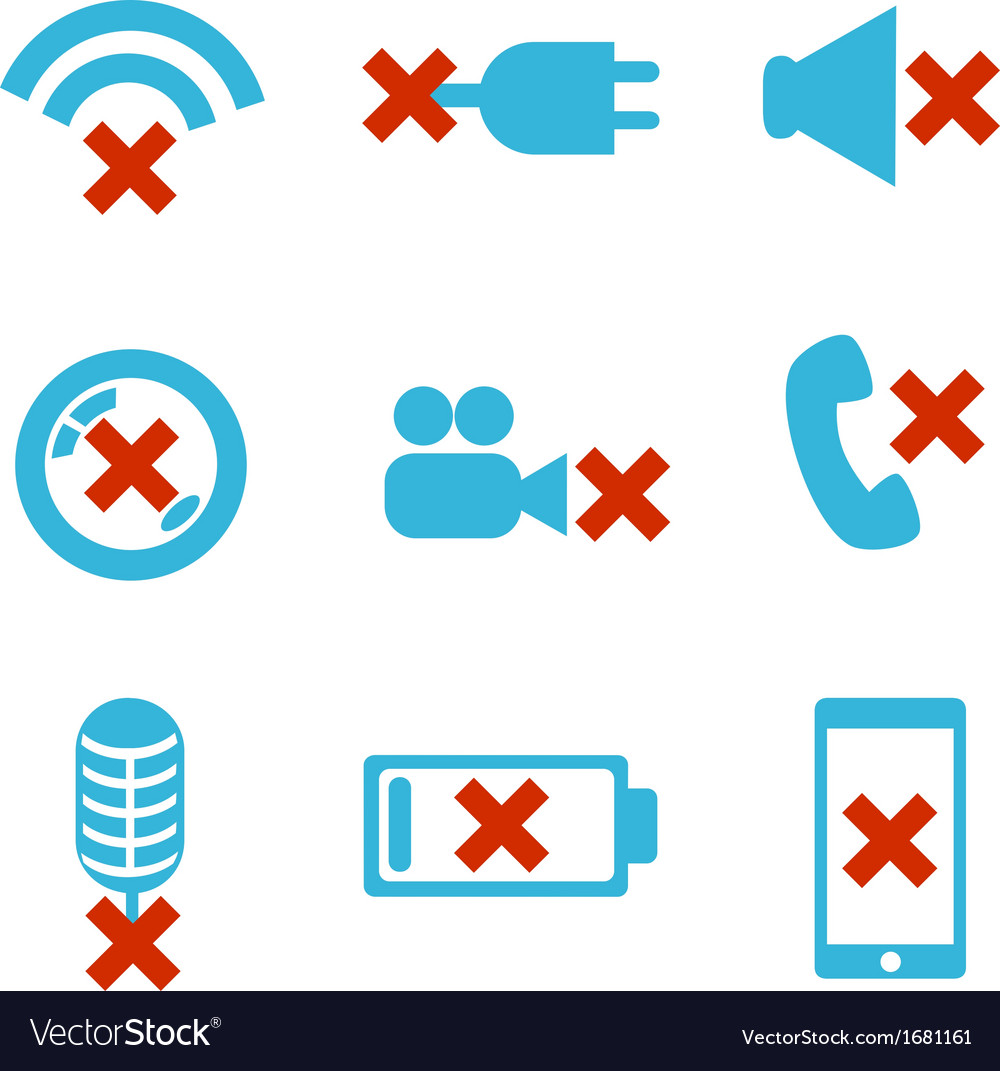 Mobile devices breakdowns icon set vector | Price: 1 Credit (USD $1)