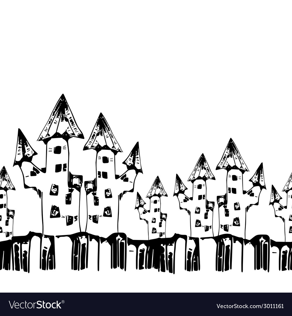 Seamless pattern with scary houses for halloween vector | Price: 1 Credit (USD $1)
