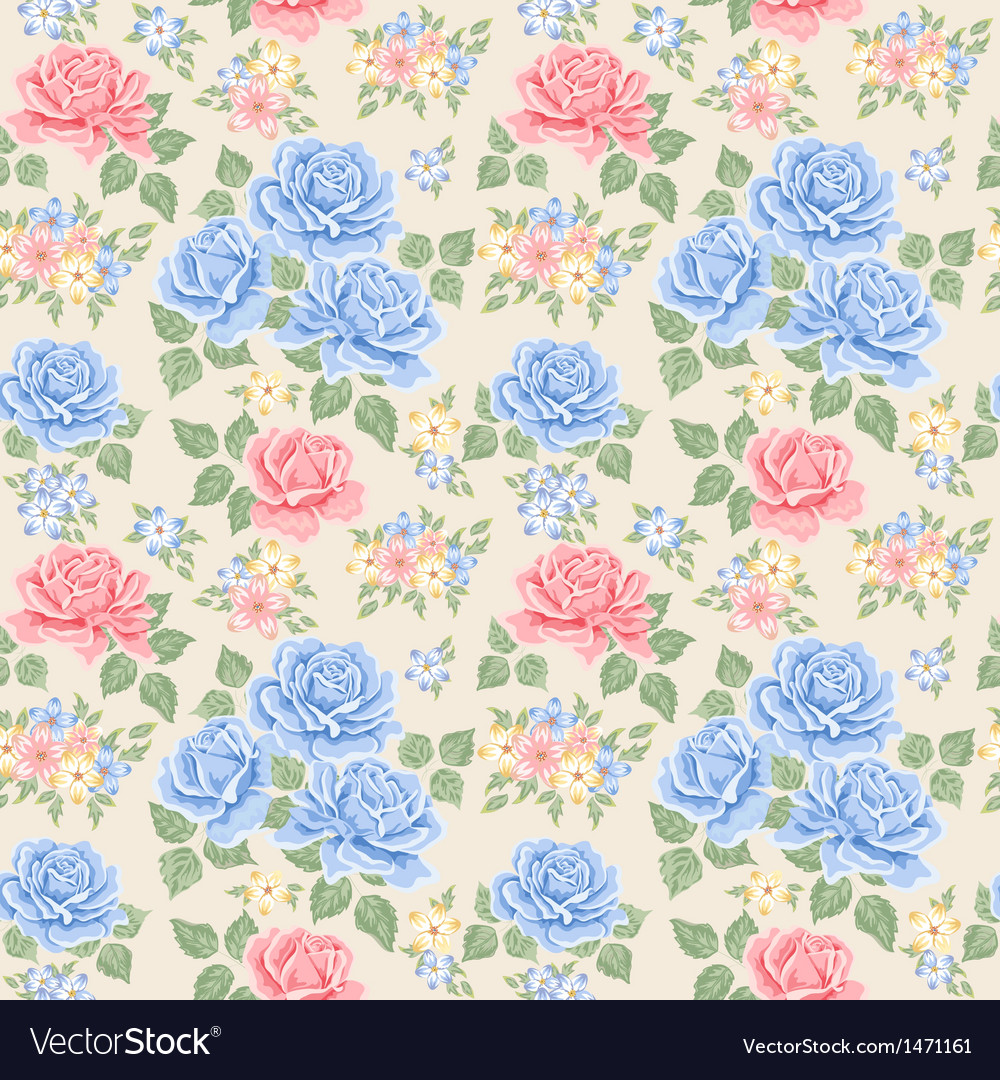 Seamless wallpaper pattern with roses vector | Price: 1 Credit (USD $1)