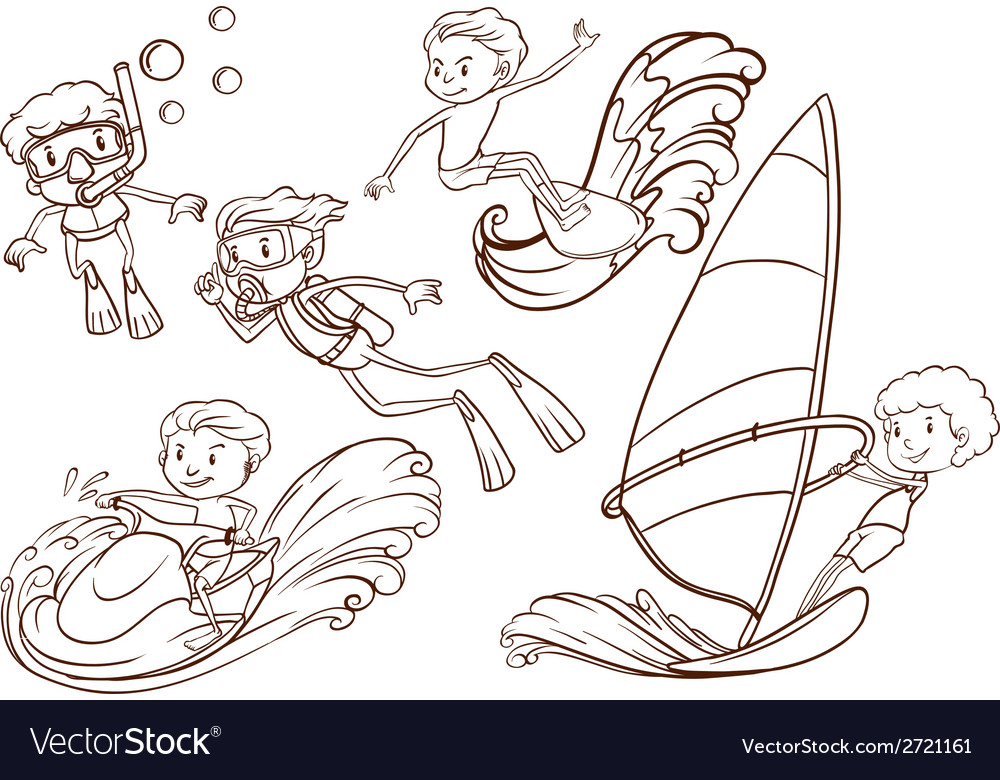 Simple sketch of people doing water sports vector | Price: 1 Credit (USD $1)