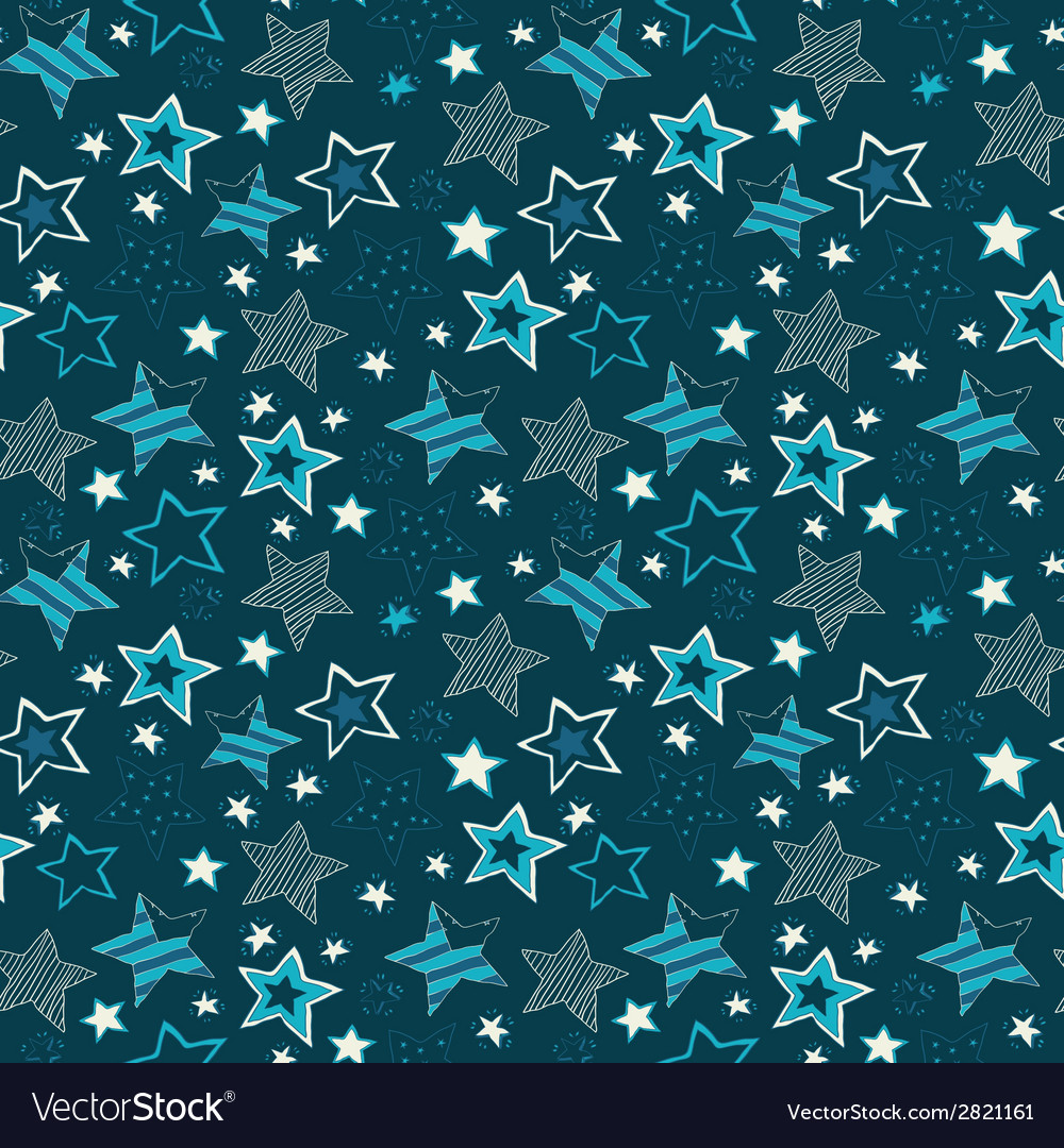 Sketchy stars seamless repeat pattern vector | Price: 1 Credit (USD $1)