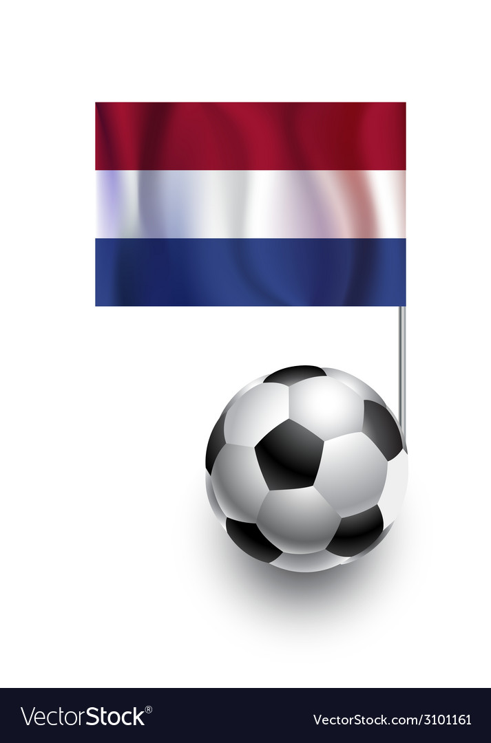 Soccer balls or footballs with flag of netherlands vector | Price: 1 Credit (USD $1)