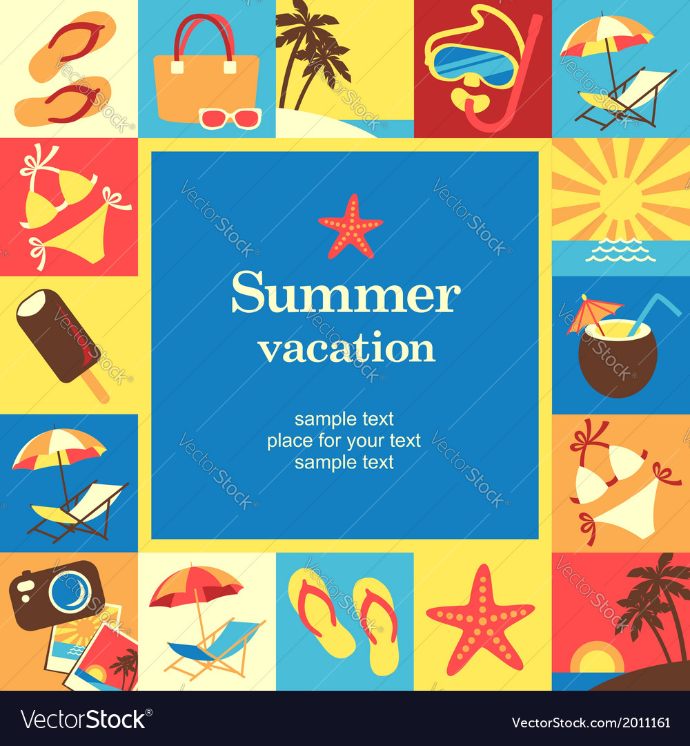 Summer vacation frame vector | Price: 1 Credit (USD $1)